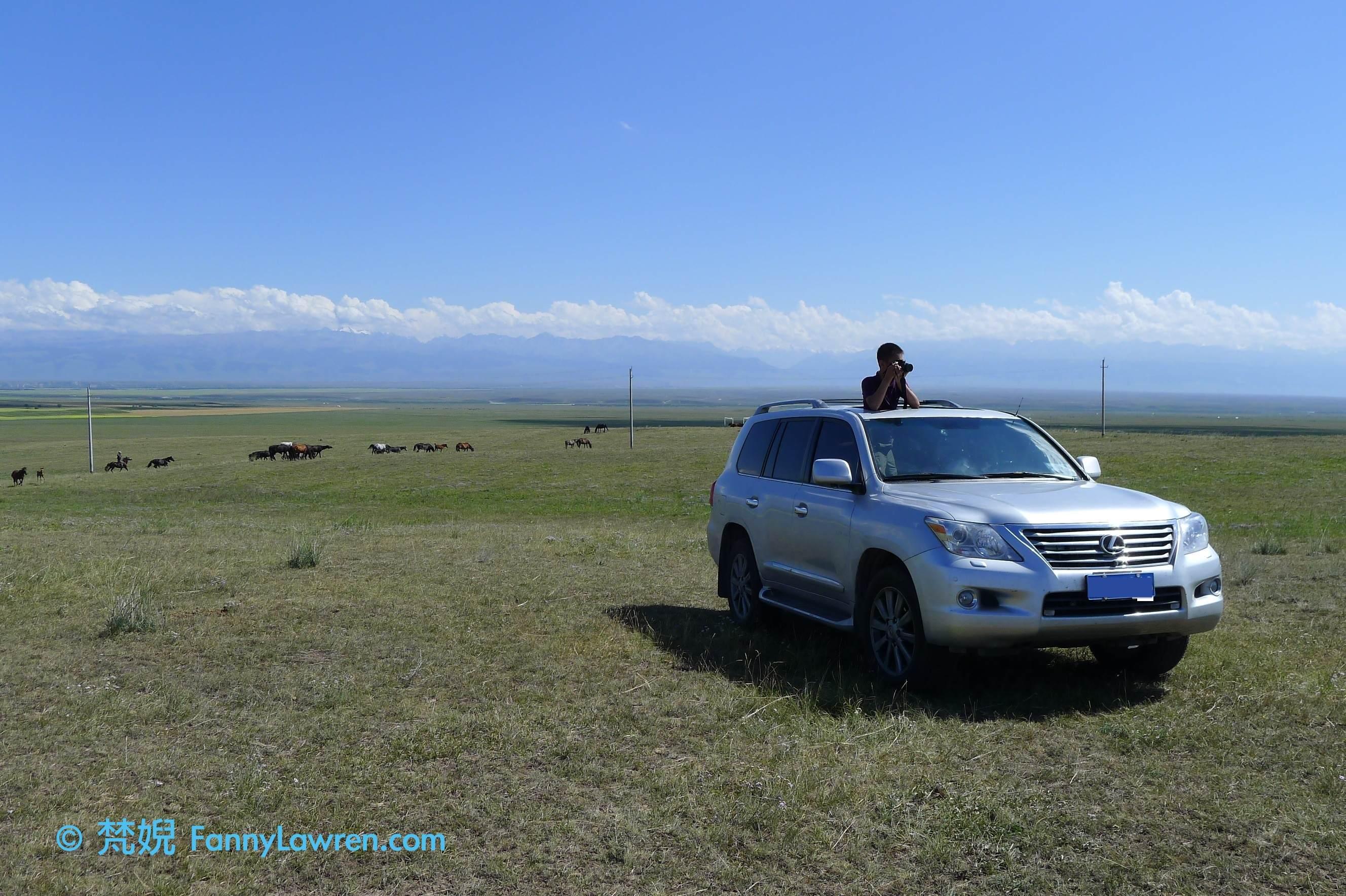 孩子腦根轉得比團體成員還要快,到達大草原,他是第一個想到從車頂探頭出來拍攝的。2012.07