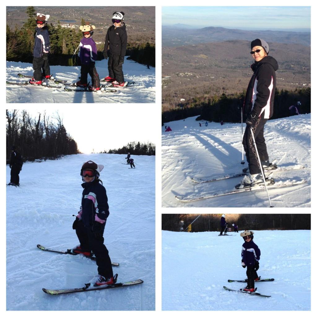 孩子與我今年的第一天滑雪,攝於佛蒙特州 Stratton Mountain, VT。