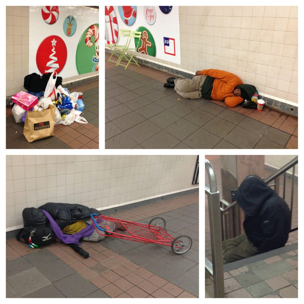 紐約市先鋒廣場 34th St - Herald Square 地鐵站通道上,多名露宿者避寒過夜。