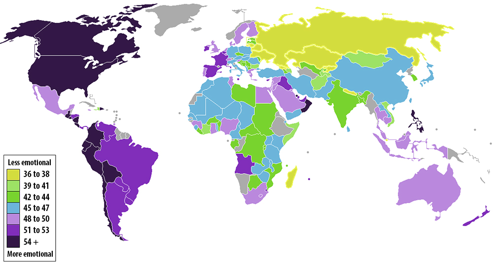 世界各國人民富感情的比較 (Max Fisher)