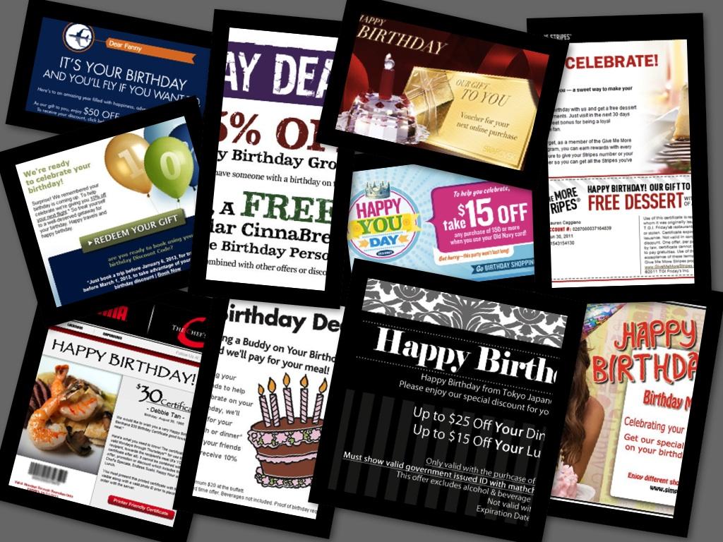 各種生日優惠郵件拼圖 birthday deals