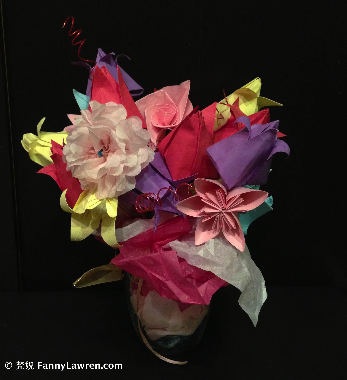 女兒年前給我親手摺製的手工花 valentines-flower-handmade