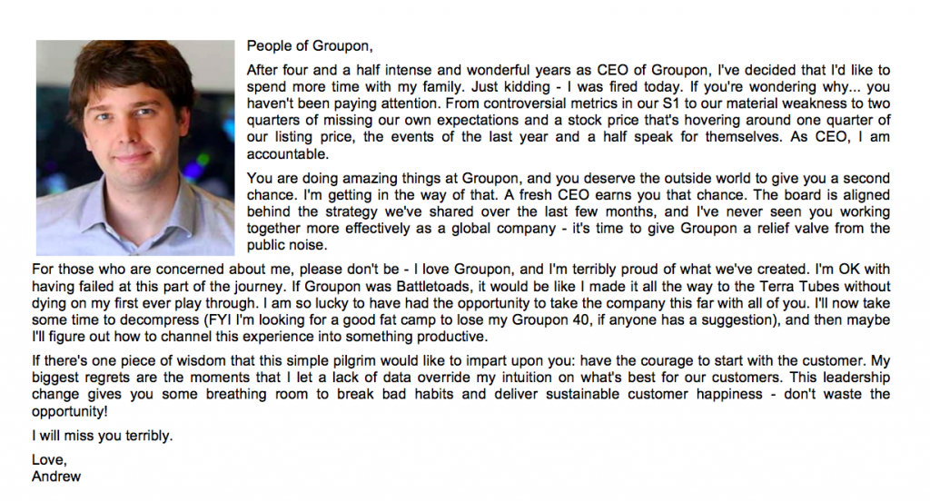 Groupon 的創始人兼行政總裁 Andrew Mason 梅森被解僱後,向員工發出的告別電郵。文與圖均為網絡資料,梵婗自製合成。